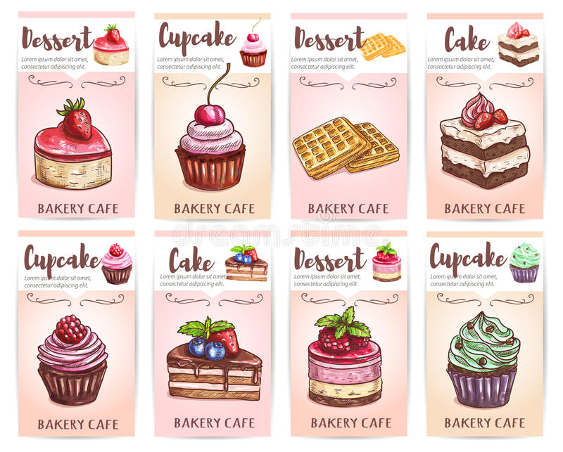 Cafénachtischmenü Skizzierte kleine Kuchen, Kuchentags stock abbildung