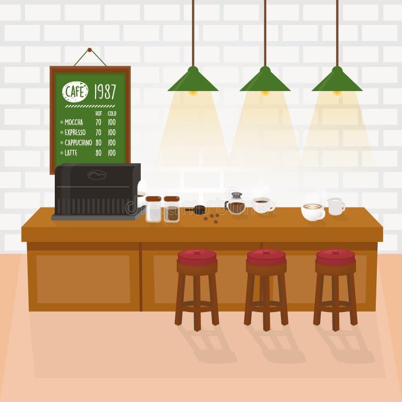 Caféraum - gemütlicher Innenraum mit Kaffeemaschine, Tabelle und weißer Backsteinmauer Cafeteriavektor stock abbildung