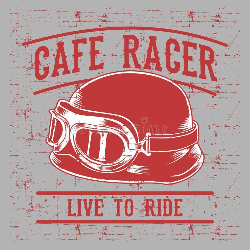 Caférennläufer-Radfahrersturzhelm mit Aufschrift leben zur Fahrt-Fahrt, um zu leben Weinlesetypographiekunst für T-Shirt Druck, K vektor abbildung