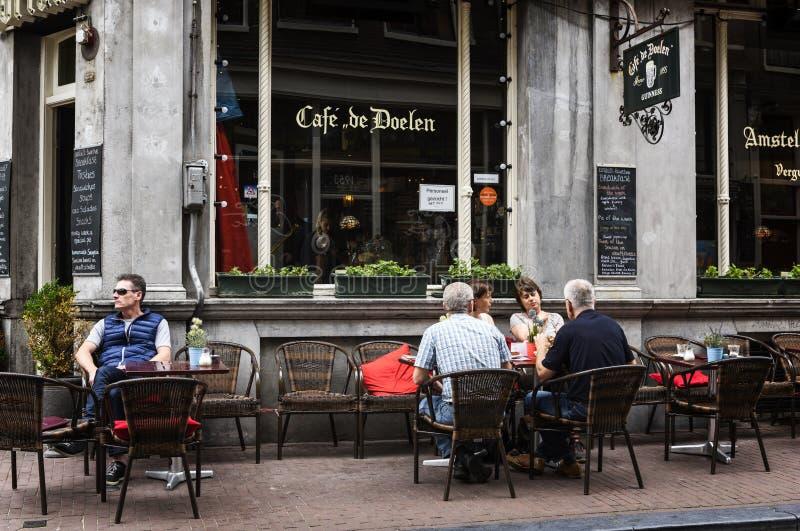 Caférestaurant in Amsterdam stockbilder