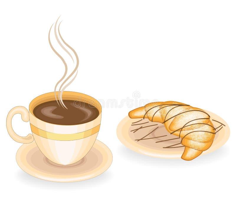 Caf? chaud avec le croissant frais, cuisine fran?aise classique Nourriture d?licieuse pour le petit d?jeuner, la d?tresse et le d illustration de vecteur
