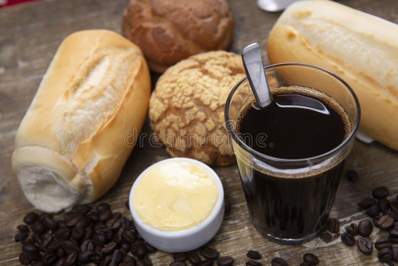 Caf? e p?o imagem de stock