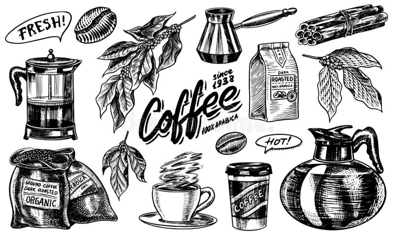 Caf? en estilo de la vendimia Un bolso del grano, hojas del cacao, palillos de canela, una taza y una tetera, un fabricante de ca libre illustration