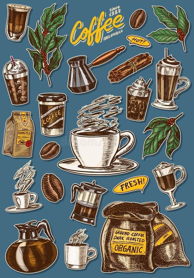 Caf? en estilo de la vendimia Un bolso del grano, hojas del cacao, palillos de canela, una taza y una tetera, un fabricante de ca ilustración del vector