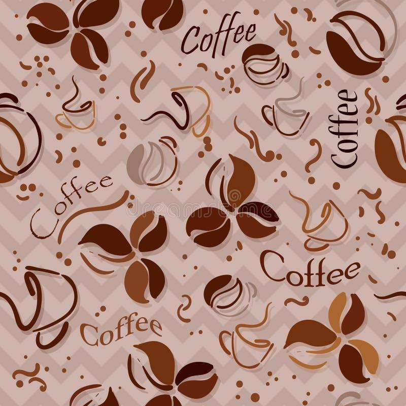 Caf? mug Modelo incons?til del caf? Granos de caf? y poner letras al fondo a mano del CAF? Modelo incons?til del tiempo del caf? ilustración del vector