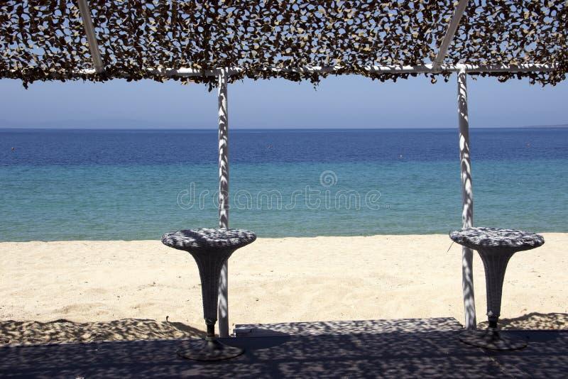 Caf? na praia e no clube do mergulho fotografia de stock royalty free
