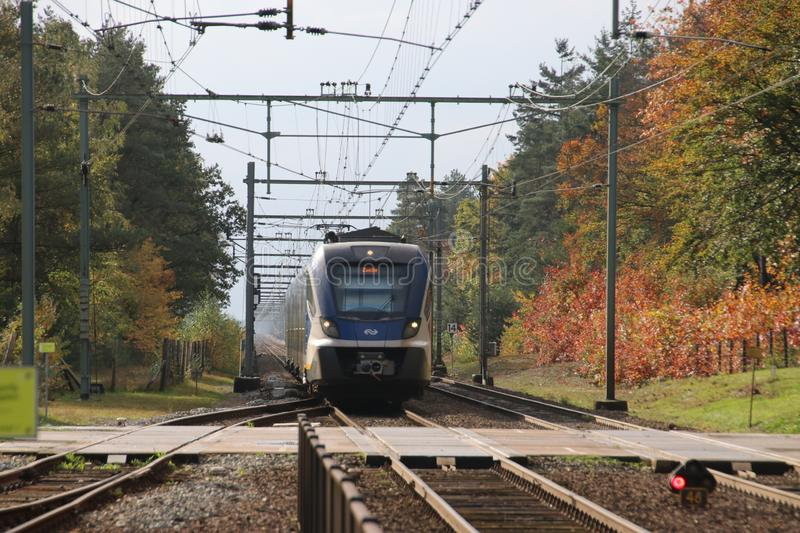 CAF SNG civility local commuter train arriving at station of `t Harde during Autumn heading to Zwolle stock image