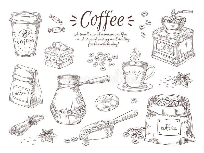 Caf? tir? par la main Boisson italienne de cru avec des desserts et des épices de petit déjeuner, fabricant de café et croquis de illustration stock