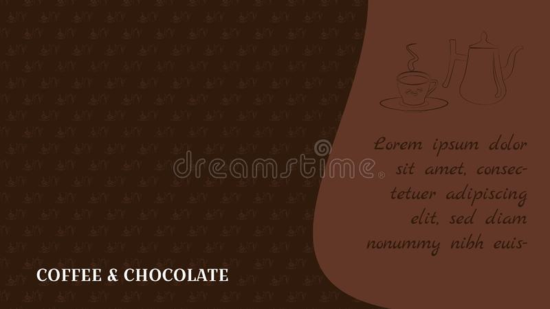 Caf? y chocolate Diseño para el blog o el fondo de la página web Modelo en estilo del bosquejo Crisol y taza del caf? con el espa ilustración del vector