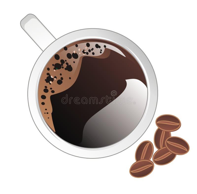 Caf? y granos stock de ilustración