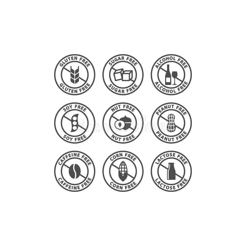 Cafeína, alcohol, sistema de etiqueta libre del vector del azúcar Nueces, cacahuetes, muestras libres de la insignia del círculo  ilustración del vector