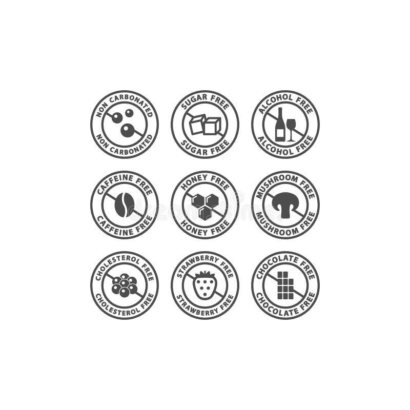 Cafeína, azúcar, sistema negro sin alcohol de la insignia de la etiqueta del vector ilustración del vector