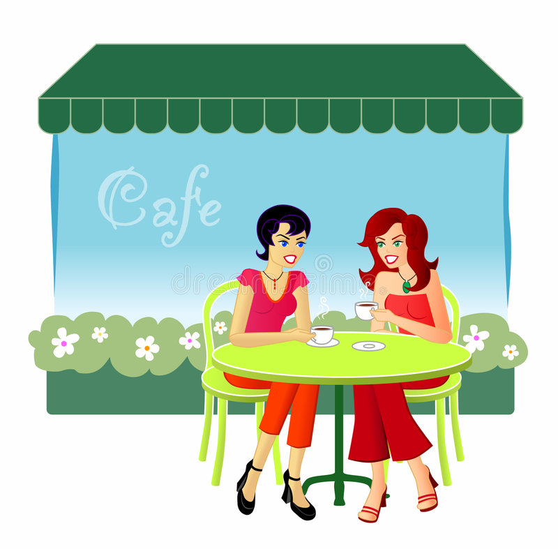 At The Cafe. An illustration of two female friends catching up over drinks at a cafe