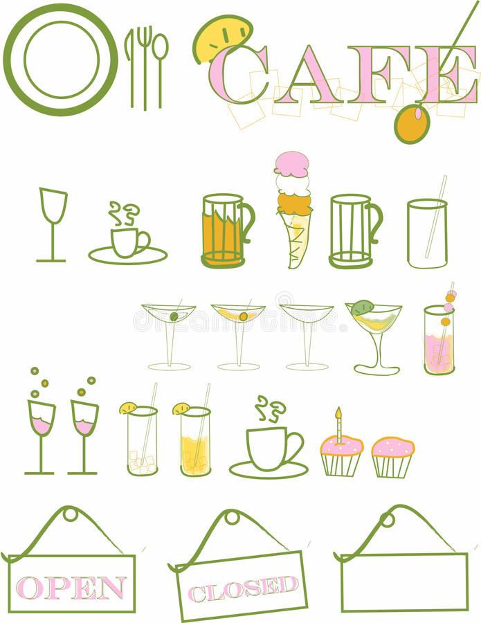 Download Cafe stock vector. Image of glasses, open, knife, cafe - 9906781