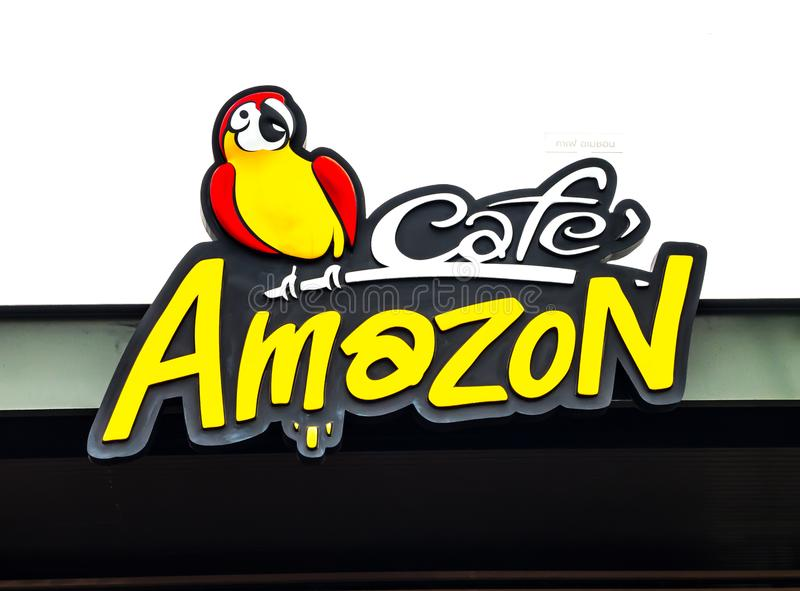 Cafe amazon coffee shop branding logo in close up. stock image