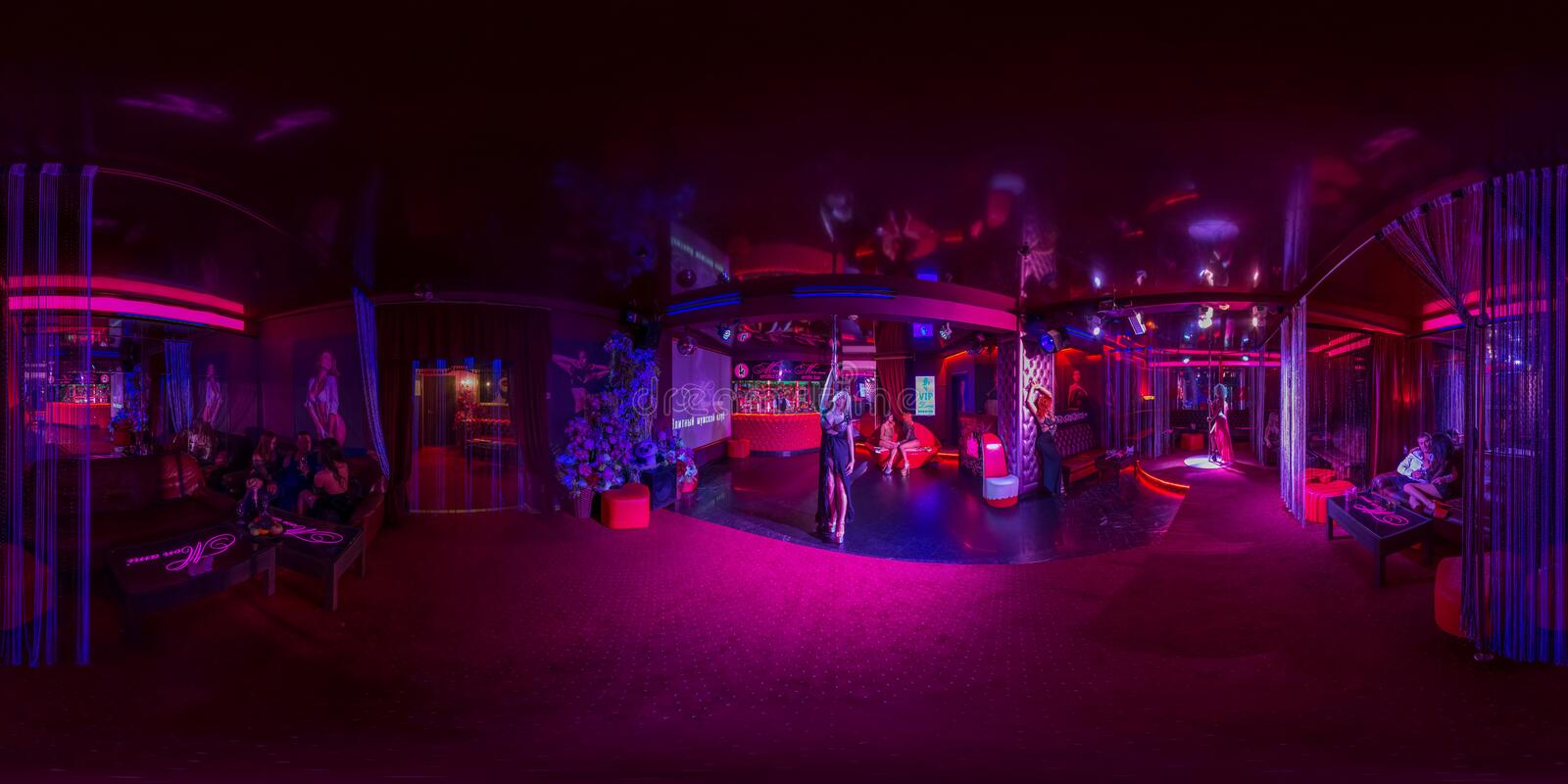 Cafe with bar in the nightclub. Spherical Panorama stock photography