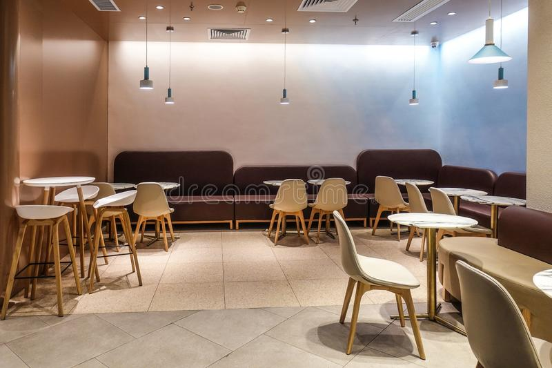 Cafe bar Restaurant  interior   in shopping mall royalty free stock image