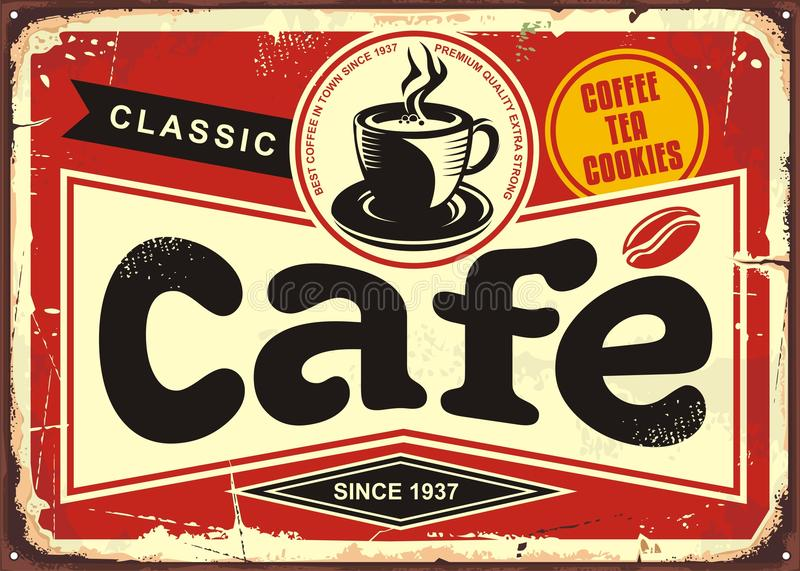 Download Cafe bar retro tin sign stock vector. Illustration of retro - 104548388