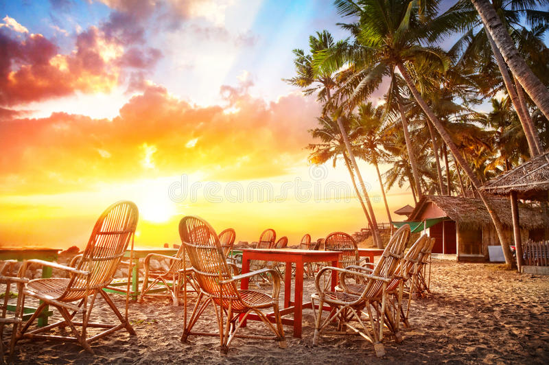Cafe on the beach royalty free stock image