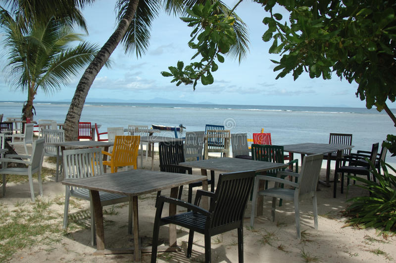 Cafe on the beach stock image