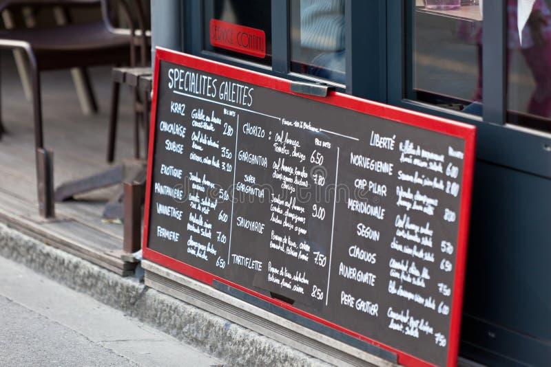 Cafe Blackboard. In France. Horizontal shot stock image