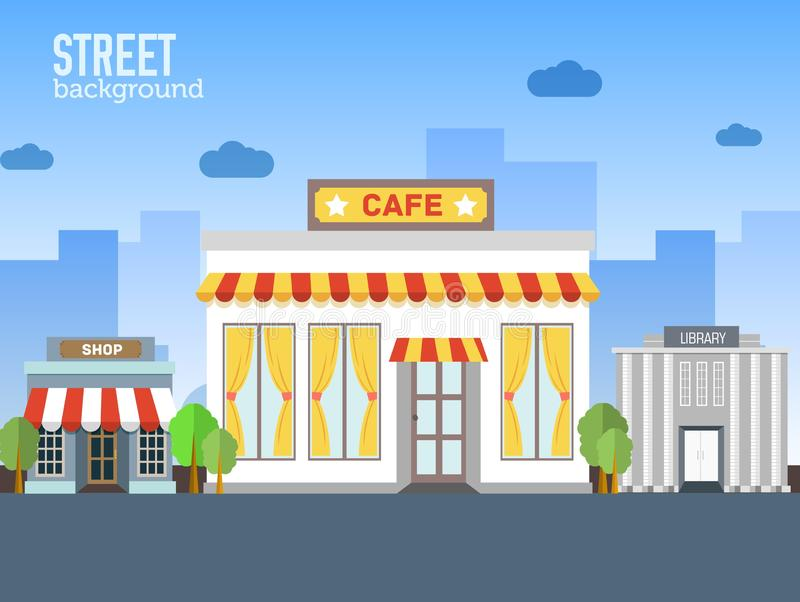 Cafe Building In City Space With Road On Flat Syle Stock