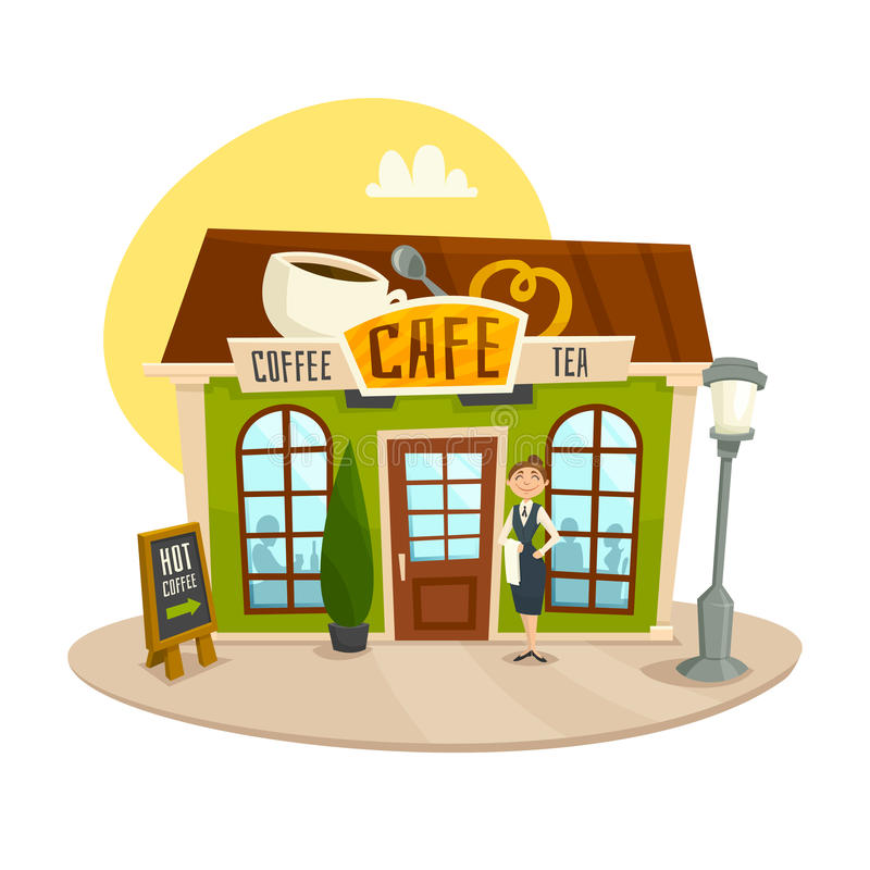 Cafe building, coffee and tea shop, front view, cartoon vector illustration stock illustration