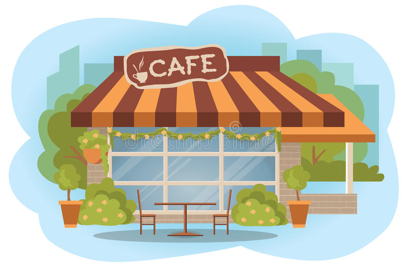 Cafe building facade with outdoor street chair seats and table. Flat style vector illustration on white background. Stree royalty free illustration