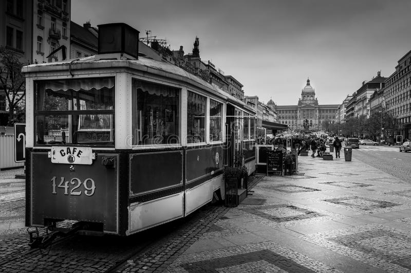 Cafe 1429 Cable Car in Prague royalty free stock photo