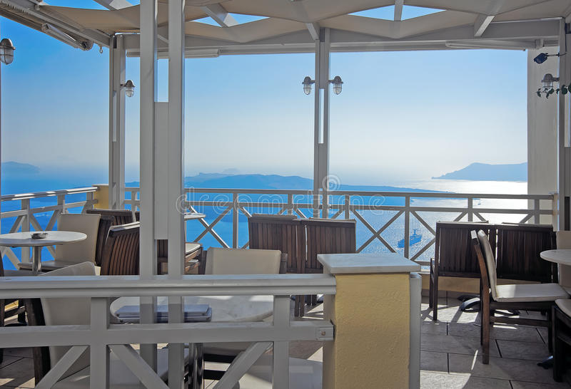 Download Cafe With Caldera View On Santorini Stock Photo - Image: 26248974