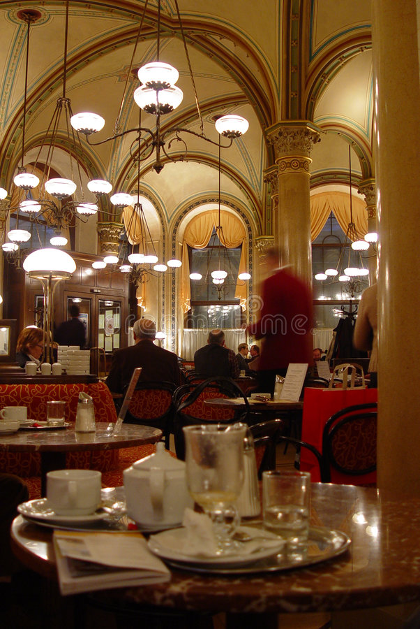 Cafe Central. Having coffee on a winter day in Vienna's Cafe Central