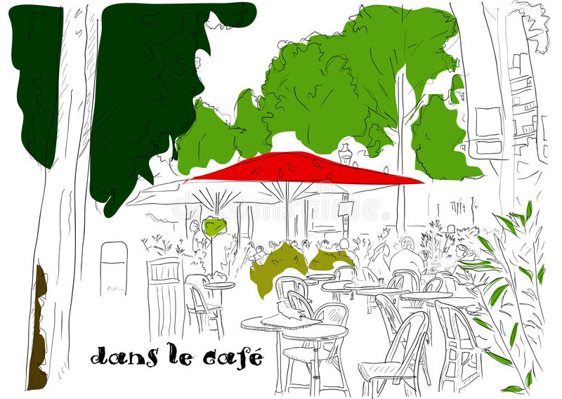 Cafe on the Champs-Elysees 3 royalty free illustration