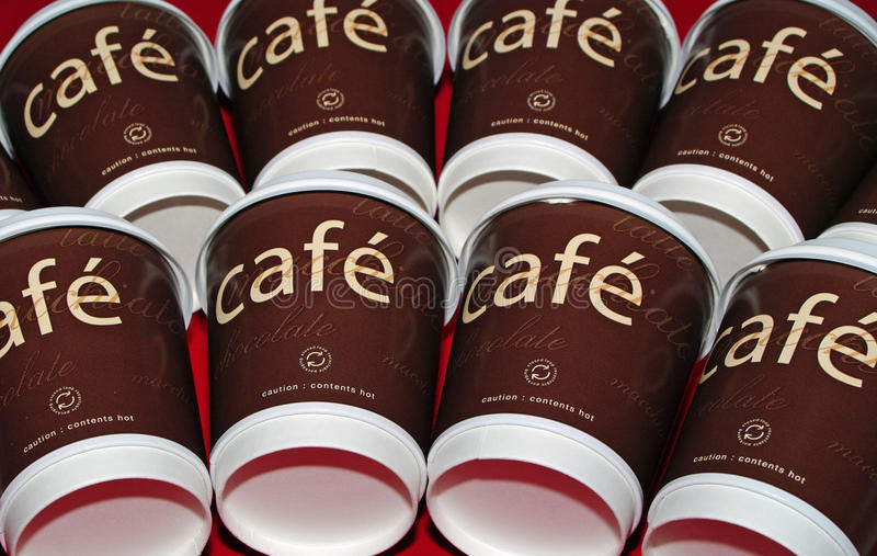 Download Cafe Coffee Cups In Two Rows Stock Photo - Image: 14762752