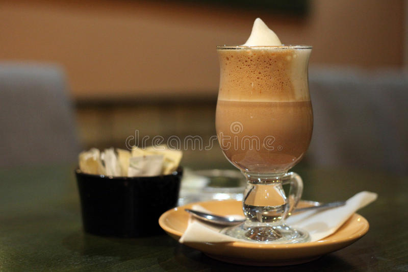 Cafe Coffee Latte in glass royalty free stock photos