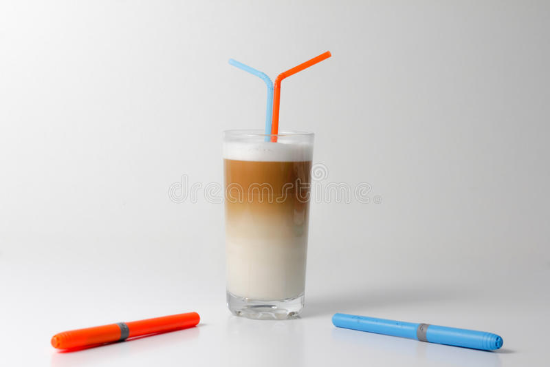 Cafe coffee, Latte macchiato royalty free stock photos