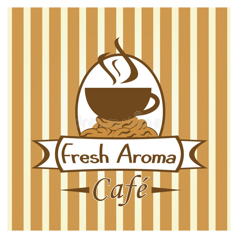 Cafe or Coffee Shop Image. A Fun Retro design for a coffee shop or cafe stock illustration