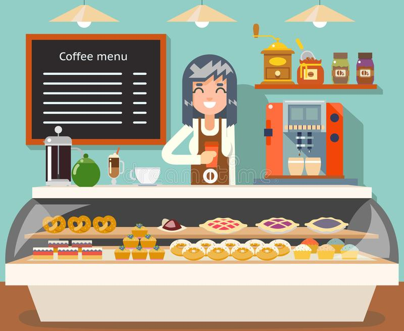 Cafe coffee shop woman business interior female seller bakery taste sweets flat design vector illustration. Cafe coffee shop woman business interior seller stock illustration