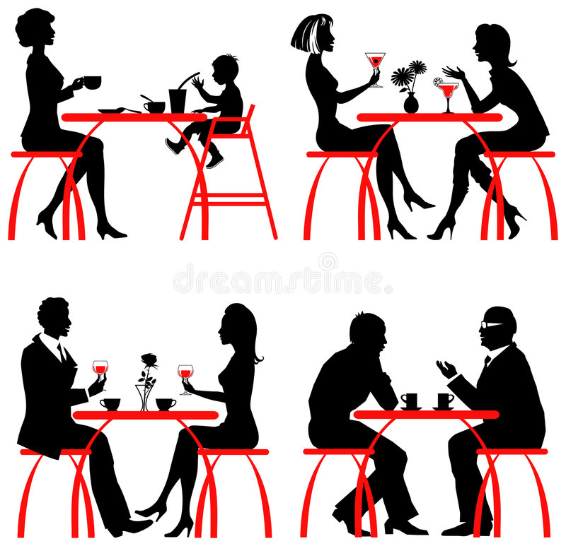 Download Cafe customers stock vector. Image of silhouette, family - 8120329