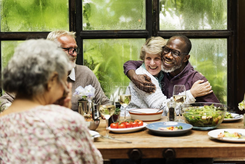 Cafe Diverse Casual Friendship Relaxation Group Concept royalty free stock photo