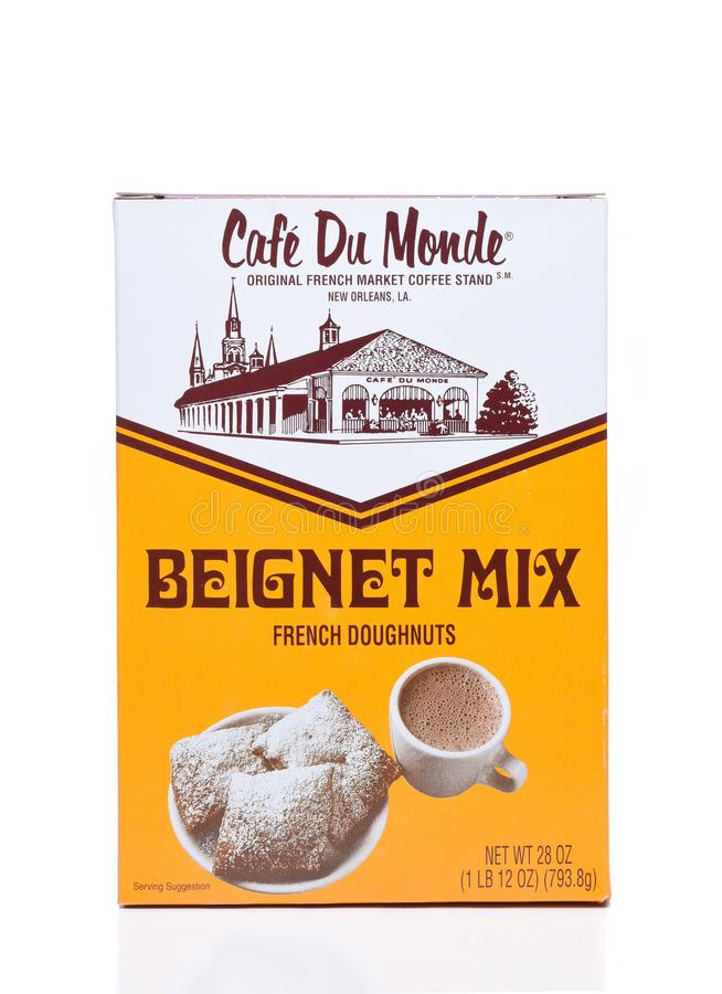 Cafe du Monde Beignet Mix. IRVINE, CALIFORNIA - DEC 4, 2018: Cafe du Monde Beignet Mix. Beignets are puffy square French doughnuts covered in powdered sugar royalty free stock image