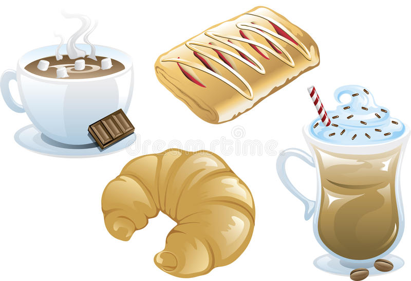 Cafe food icons stock illustration