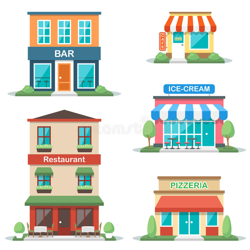 Cafe fronts. Vector illustration of different types of cafe buildings: bar, restaurant, cafe, gelateria, pizzeria. Isolated on white background. Flat design royalty free illustration