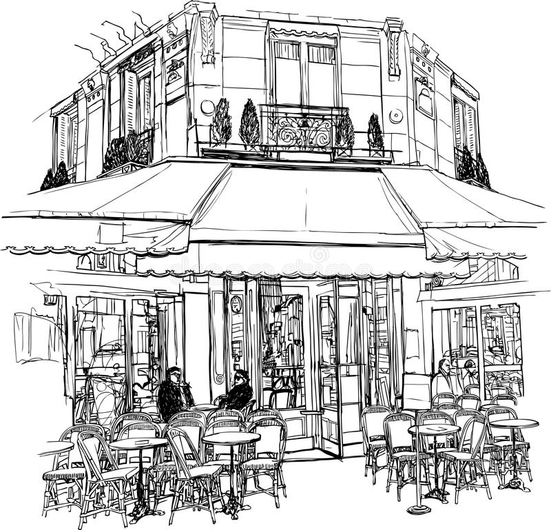 cafe gammala paris stock illustrationer