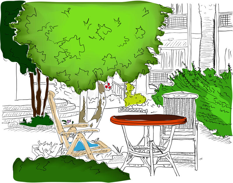 Cafe in the Garden. Partially colored version2 royalty free illustration