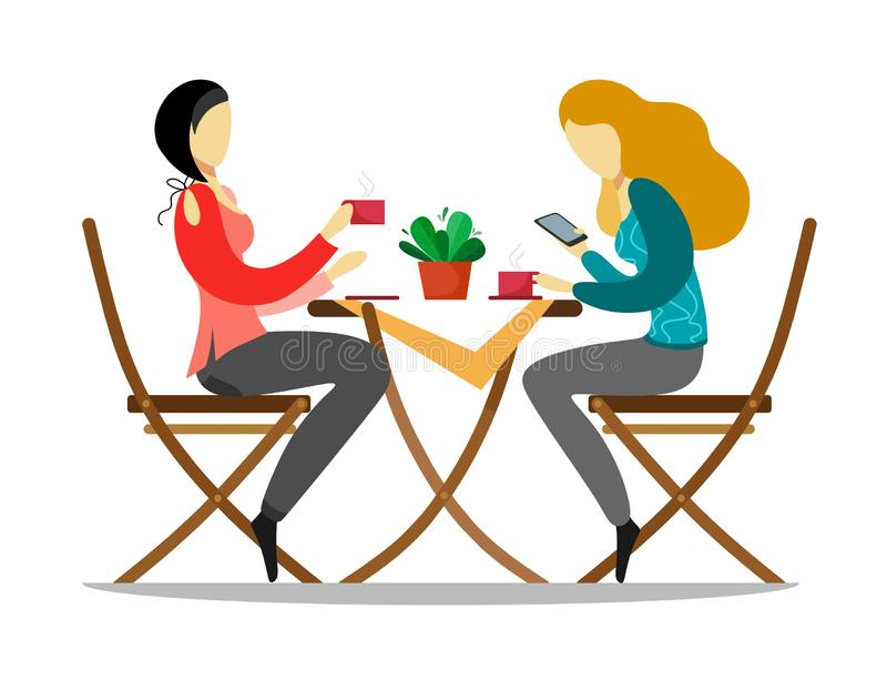 The girls sit at the table, drink coffee and chat. Vector illustration on white background. vector illustration