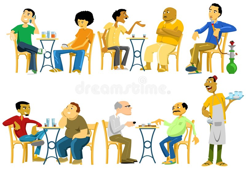 Cafe-Goers in Egypt. Image illustrating Egyptian men while hangout out in public street cafes. They gather in cafes and do a lot of things like chatting, reading