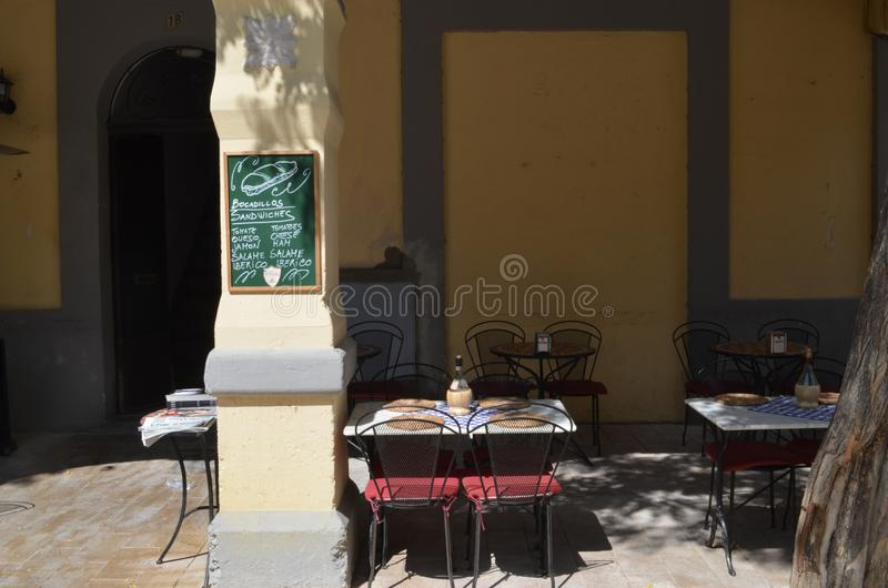 Cafe in Ibiza Spain stock images