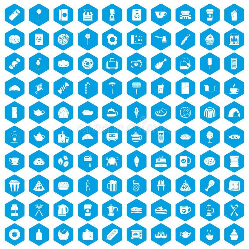 100 cafe icons set blue vector illustration