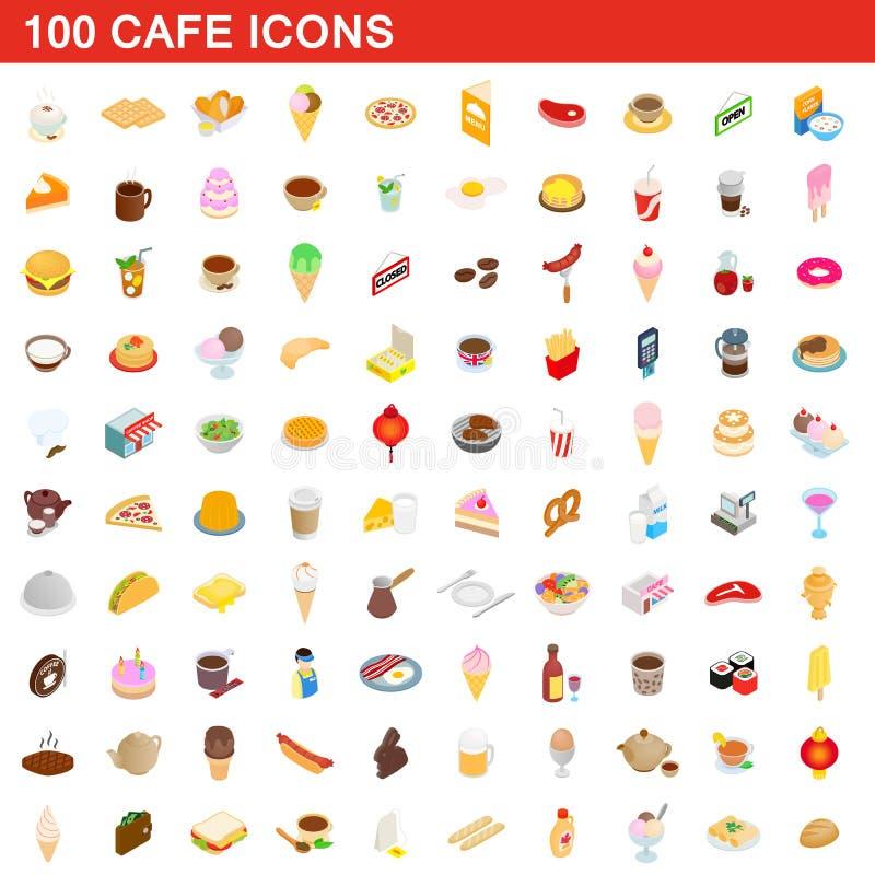 100 cafe icons set, isometric 3d style royalty free illustration