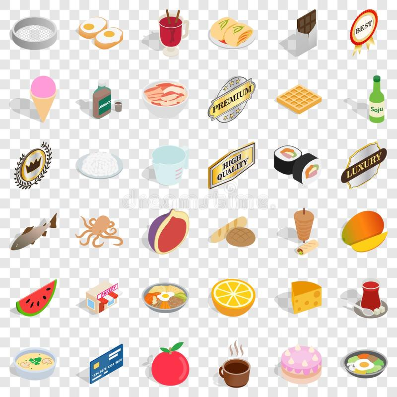 Cafe icons set, isometric style royalty free illustration